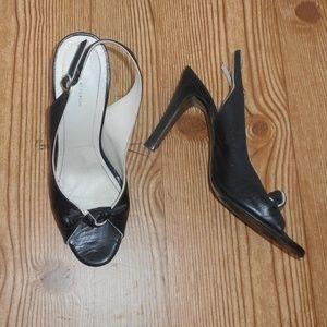 Banana Republic leather slingback peep toe heels